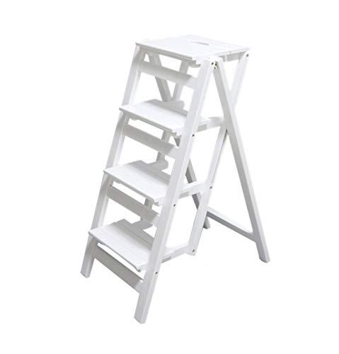 Opklapbare houten ladder, boekenkast, inklapbaar, multifunctioneel, houten plank, zwart Size 10 Correas