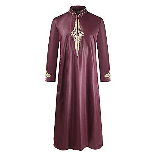 Abiti Musulmani da Uomo Camicie Henley a Maniche Lunghe a Righe Camicie da Uomo in Cotone a Maniche Lunghe Lino Medio Oriente Arabo Musulmano Caftano Vino rossoM
