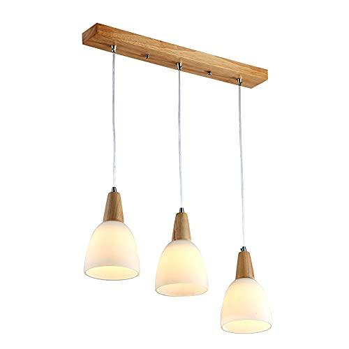 SDFDSSR 3 combinación de Luces lámpara de Cristal Blanco Crema Arte de Madera Colgante de Techo Accesorio de iluminación Restaurante balcón Lámpara Colgante Ajustable Luz Colgante Simple