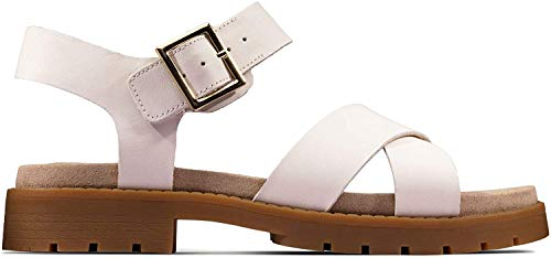 Clarks Orinoco Strap, Sandalias de Talón Abierto para Mujer, Blanco (White Leather White Leather), 35.5 EU
