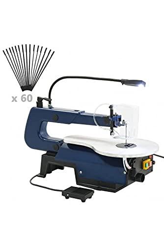 vidaXL Dekupiersäge mit Fußpedal LED-Licht Sägeblätter Laubsäge Feinschnitt Säge Feinsäge Modellbausäge 125 W Schnitthöhe 50 mm Schnitttiefe 406 mm Elektrisch