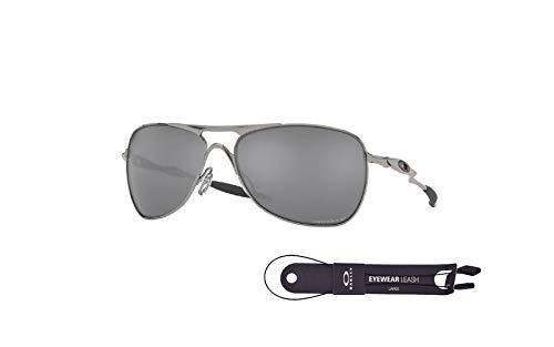 Oakley Crosshair OO4060 406022 61MM Lead/Prizm Black Polarized Square Sunglasses for Men + BUNDLE with Oakley Accessory Leash Kit