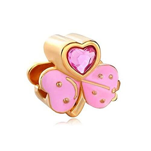 Pandora 925 Colgante De Plata Esterlina Cristal Rosa Octubre Piedra De Nacimiento Hoja Trébol Perlas De Oro Del Encanto Ajuste De La Pulsera