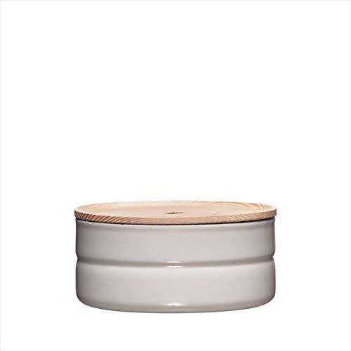 Riess, 2173-211, Vorratsdose mit Eschenholzdeckel, Durchmesser 13 cm, Höhe 6 cm, Inhalt 615 ml, LIGHT GREY, KITCHEN-MANAGEMENT, Truehomeware, Emaille