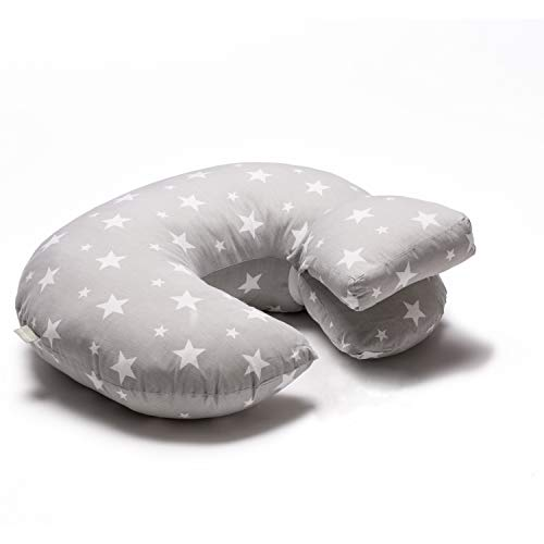 Lilly and Ben® Stillkissen BIO-Baumwolle OEKO-TEX® - Stillhörnchen Babykissen Nursing Pillow - grau