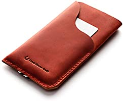 Leather iPhone 11 case/sleeve | Fragola Red, handmade vintage Crazy Horse style Italian leather phone wallet cardholder,...