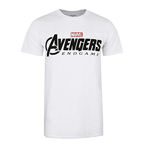 Marvel Avengers Endgame Logo Camiseta, Blanco (White White), Large (Talla del Fabricante: Large) para Hombre