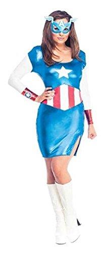 Rubies Officielle pour Femme Marvel Miss American Dream Captain America Robe, déguisement Adulte – Medium UK 12 -14