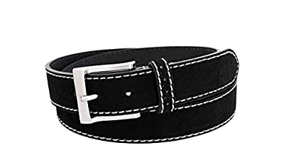 Florsheim Men's Casual Genuine Suede Leather Belt with Contrast Stitched Edge (Black, 34)