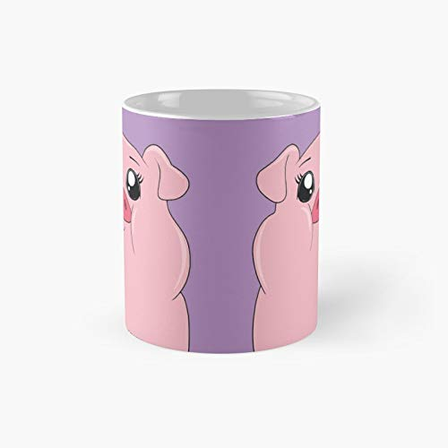Wa.ddles Cute Pig Classic Mug - A Novelty Ceramic Cups Inspirational Holiday Gifts For Morther's Day, Men & Women, Him Or Her, Mom, Dad, Sister, Brother, Coworkers, Bestie.