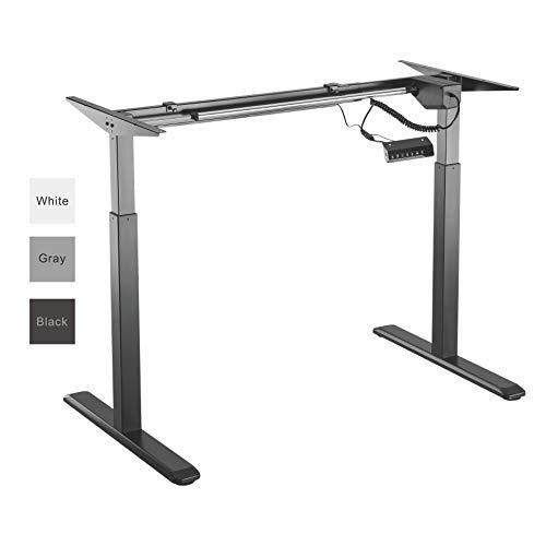 ALLDREI elektrisch stufenlos höhenverstellbarer Schreibtisch Mit Speicher-Steuerung und Erinnerungsfunktion. (Schwarz)