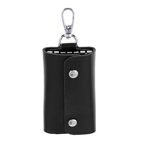 Homyl Bolsa masculina de couro legítimo para chaveiro de carro, porta-cartões, bolsa organizadora, Preto, 10×6×2cm