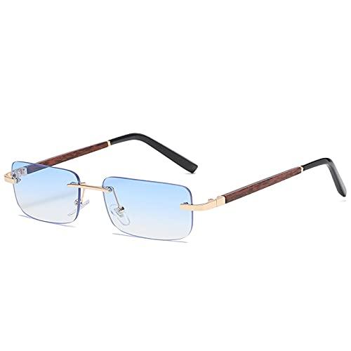 chengguo Gafas de Sol sin Montura de Madera para Mujer, Hombre, Vintage, Rectangular, de Madera, Gafas de Sol, UV400, Gafas de conducción, sin Marco, gradiente, Sombras cuadradas, Azul