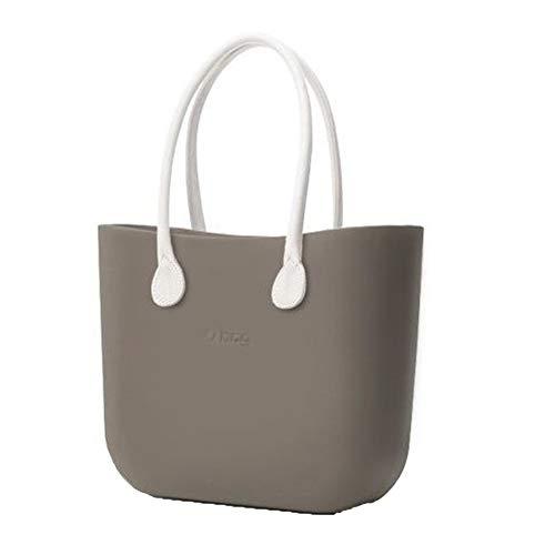 O bag, Große Tasche von O bag mit Innenbeutel und langem Henkel aus weißem Kunstleder, Farbe Korpus Roccia