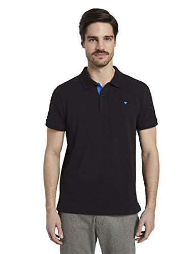 TOM TAILOR Herren Poloshirts Basic Poloshirt Black,L
