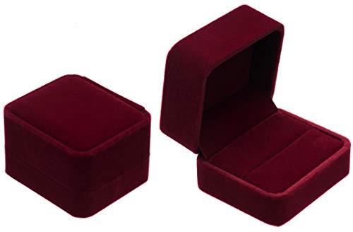 POKOFO Schmuck-Etui für Trauringe Freundschaftsringe Partnerringe Samt Trauring-Box Ring-Schachtel Schatulle Geschenkverpackung (Rot)