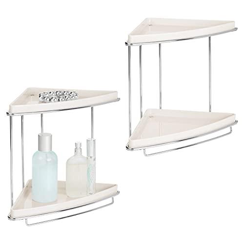 mDesign Metal 2-Tier Corner Storage Organizing Caddy Stand for Bathroom Vanity Countertops, Shelving or Under Sink - Free Standing, 2 Plastic Shelves - 2 Pack - Cream/Chrome