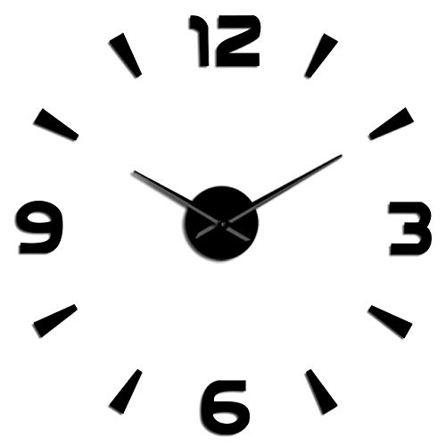 HIDFQY Modernes Interieur große Uhr Kit Wandbehang Kunst rahmenlose Wanduhr große DIY stumme Wanduhr Spiegel Aufkleber Home Office Schule Dekoration 37 Zoll schwarz