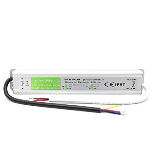 Conductor de Transformador de Iluminación Exterior AC 100-250A a DC 24V 50W IP67 Impermeable La Tira de LED Fuente de Alimentación