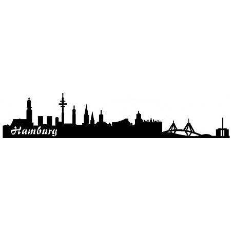 Samunshi Autoaufkleber Hamburg Aufkleber Skyline In 7 Größen Und 25 Farben 20x4cm Schwarz Auto