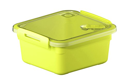Rotho Memory Mikrowellendose mit Deckel und Ventil 1 l, Kunststoff (BPA-frei), gelb / transparent, 1 Liter (16 x 15 x 7,7 cm)
