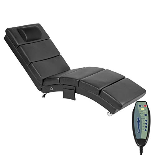 YOLENY Massage Chaise Lounge,Electric Recliner Heated Chair,Ergonomic Indoor Chair, Modern Long Lounger for Office or Living Room,PU&Black…