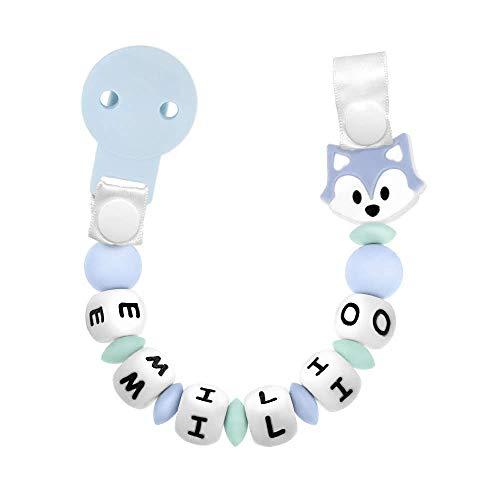 RUBY - Chupetero Personalizado con Nombre, Pinza de Plástico, Silicona Antibacteriana, Figura Baby Fox y Cinta (Azul Pastel)