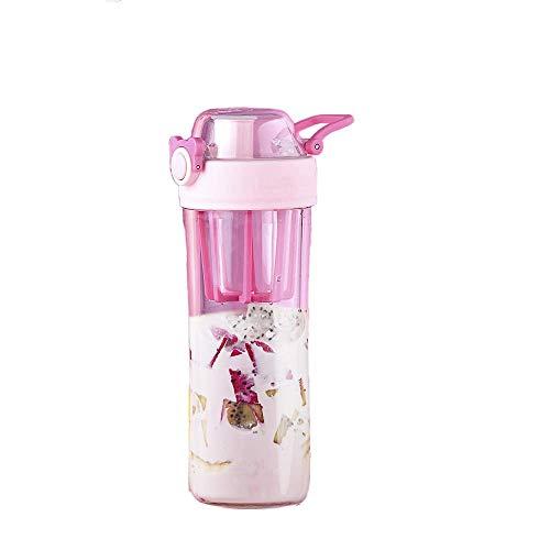 Prueba Frasco de Agua Reutilizable Deportes Prueba de Fugas de Fugas de plástico Paja Tiempo Marcador manija Taza de la Fruta Stir BTZHY (Color : Pink, Size : 23.5x6.8cm)