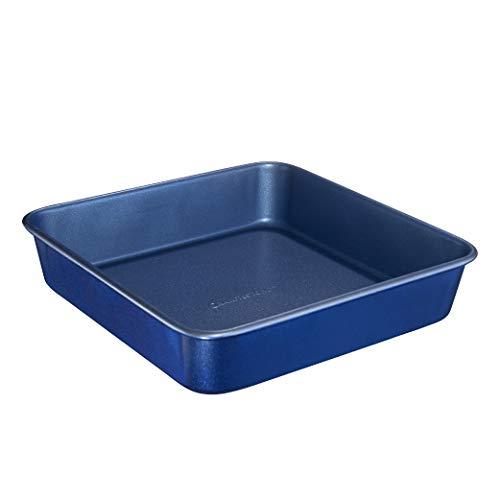 "Granitestone Blue Bakeware Nonstick Square Baking Pan, Square Cake Pan, Brownie Pan – Large 9.5"" x 9.5"" x 2"" Size, Even Heat & Non-Warp Technology, Ultra Nonstick Mineral Coating, Dishwasher Safe"