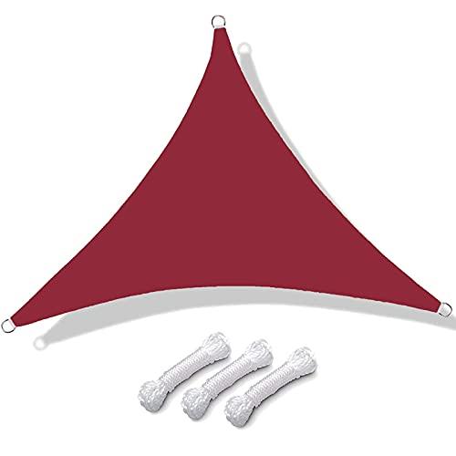 Vela De Sombra Triangular Para Patio Toldos Exterior Terraza Con Cuerda Libre Protección Rayos UV Impermeable Para Patio Exteriores Jardín Balcón (color:Rojo óxido(Size:4*4*4m(13.1*13.1*13.1ft))