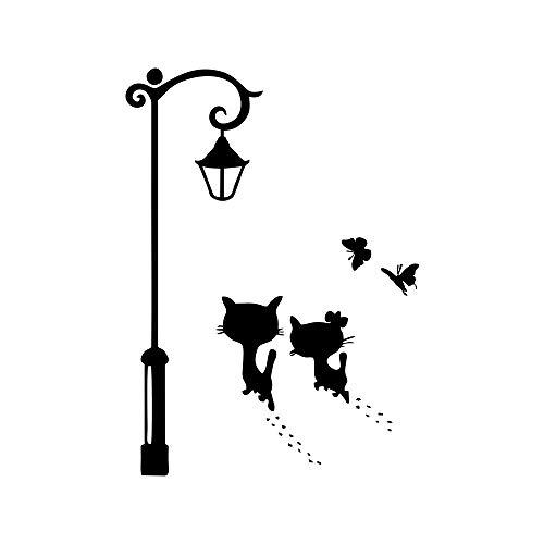 Pegatinas de pared de gatos para decoración de la lámpara de la calle de la calle, pegatinas de pared para el hogar, sala de estar, dormitorio, decoración (2 gatos)