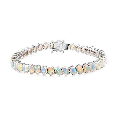 Platinum Plated 10.5 Ctw Opal Gemstone 925 Sterling Silver Women Tennis Bracelet
