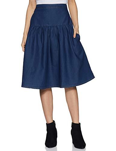 Styleville.in Denim a-line Skirt (SSKF350357-Dark Blue-S_Dark