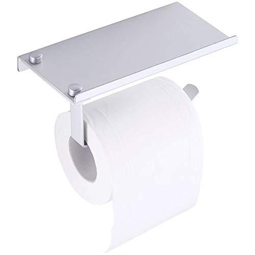 De aluminio Papel higiénico del estante del rollo de papel titular sostenedor impermeable montado en la pared del sacador Toalla libre del estante Portarrollos de Cocina (Color : Silver)
