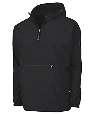 Charles River Apparel Pack-N-Go Wind & Water-Resistant Pullover (Reg/Ext Sizes), Black, M