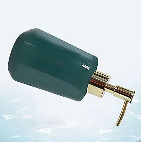 JJXZM Dosificador Gel hidroalcoholico, dispensador de jabon baño Gel hidroalcoholico Manos pequeño Botella de jabón líquido de cerámica (Verde 300ml)