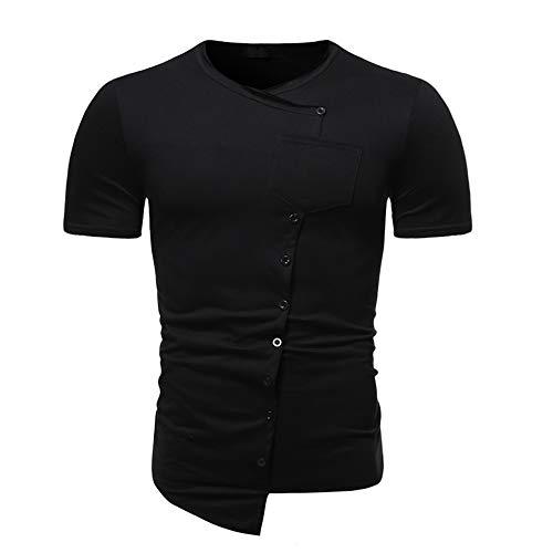 Camiseta Hombre Verano Slim Fit Hombre Manga Mecha Transpirable Color Sólido Simplicidad Shirt Deportiva Hombre Botón Bolsillo Decoración Diseño Irregular Camiseta Hombre B-Black XXL