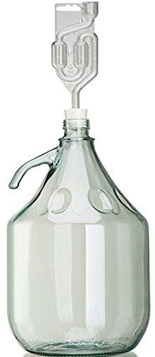 Unbekannt Set 5L Flasche + Stopfen + Gärröhrchen Weinballon Gärballon Glasflasche Gärbehälter
