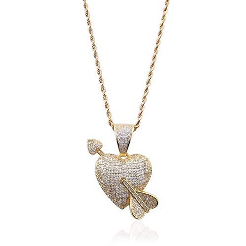 Moca Jewelry Colgante de espada de Cupido Iced Out cadena chapada en oro de 18 quilates con diamantes de imitación de circonita cúbica para hombres y mujeres