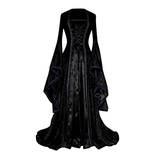 BIBOKAOKE Mittelalter Kleidung Damen Renaissance Kostüme Kleider für Halloween Karneval Hexe Gothic Cosplay Kostüm mit Trompetenärmel Mittelalter Kleid Party Kostüm Prinzessin Maxikleid