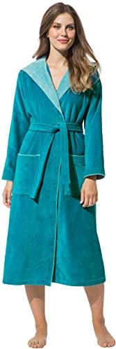 Morgenstern Bademantel für Damen aus Baumwolle mit Kapuze in Petrol Haus Bademantel lang Dusch Bademantel Velours Größe L Leonie