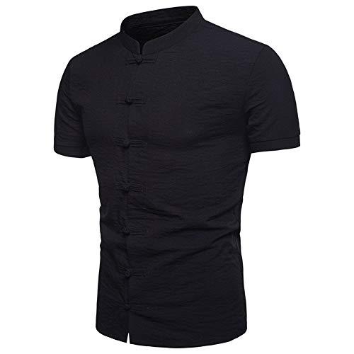 NOBRAND Camisa de cuello de algodón y cáñamo de color sólido, casual para hombre