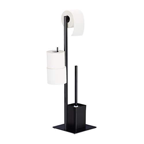 Relaxdays WC Garnitur mit Toilettenpapierhalter, stehend, für Bad, HBT: 72 x 25 x 20 cm, Stand Klobürstenhalter, schwarz