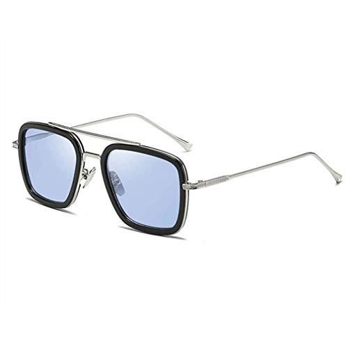 GWN Occhiali da Sole quadrati retrò portatili per uomo e Donna con montatura in Metallo lenti piatte Nero + BLU + Argento