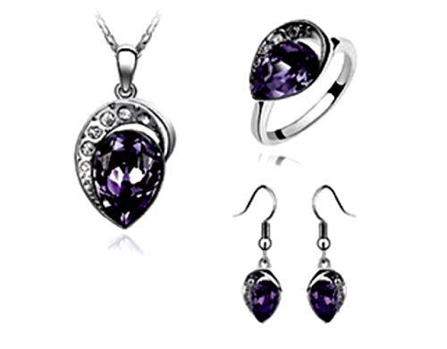 Lot ketting - oorbellen - ring met stenen - briljanten - paarse druppel - hangers