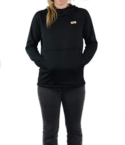 Women's Polartec Fleece Sweatshirt, Black Pullover Hoodie for Women-Made in USA