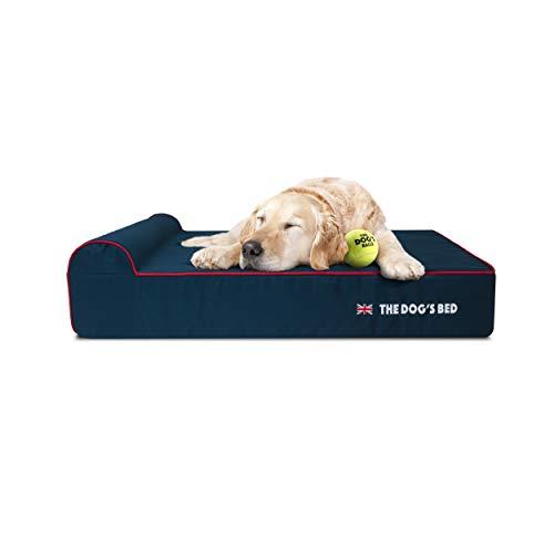 The Dog's Bed Orthopädisches Hundebett Heritage Collection XL Blau/Rot Wasserdicht Memory Foam Hundebett