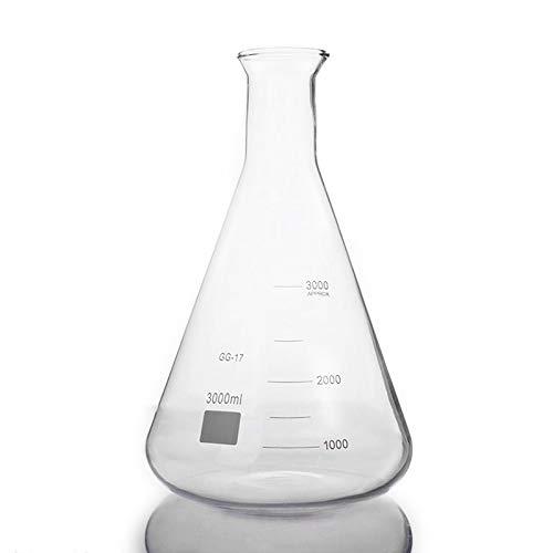 ESUHUANG Erlenmeyer Flask 3000 ml del Frasco de Erlenmeyer Ancha del canalón con graduaciones, borosilicato 3.3 Glass, Laboratorio de Química Lab Erlenmeyer Flask (Size : 3000ml)