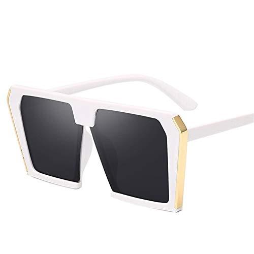 Gafas de Sol Mujer, 2020 Tendencia Grandes de la Caja Cuadrados Gafas de Sol de Las Mujeres retras Gafas de Sol Gafas de Sol Mujer Mujer Hombre Universal (Lenses Color : WhiteGray)
