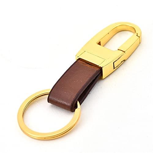ZIYUYANG Llavero, llavero de cuero con cintura de metal para hombres y mujeres, regalo GoldColor